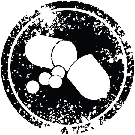 Capsule pill vector illustration circular distressed symbol