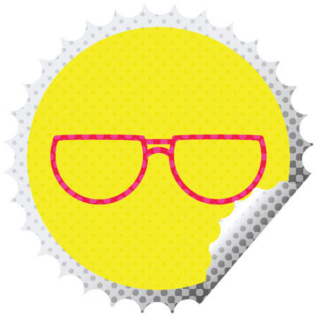 spectacles graphic vector illustration circular peeling sticker 向量圖像