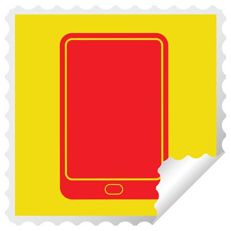 tablet computer vector illustration square peeling sticker