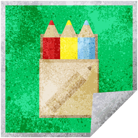 pack of coloring pencils graphic vector illustration square sticker Illustration