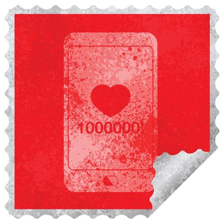 mobile phone showing 1000000 likes square peeling sticker Illustration
