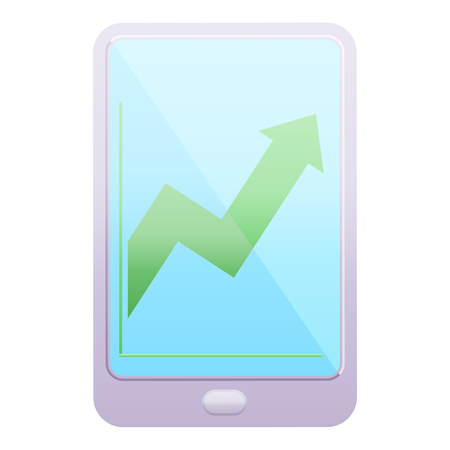 electronic tablet showing business performance graphic vector illustration icon