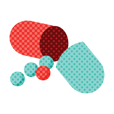 Flat colour illustration of an open capsule pill Illusztráció