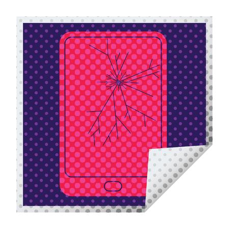 broken electronic tablet square peeling sticker Stock Vector - 110152169