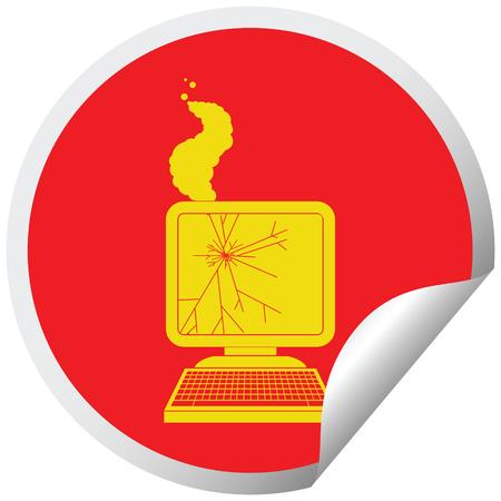 broken computer graphic circular peeling sticker Illustration