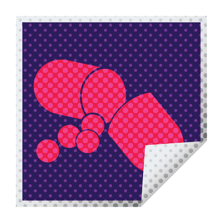 Capsule pill vector illustration square peeling sticker