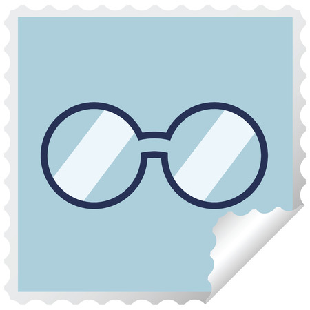spectacles graphic square sticker stamp