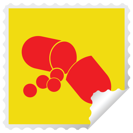 Capsule pill vector illustration square peeling sticker