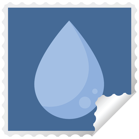 raindrop graphic square sticker stamp Illustration
