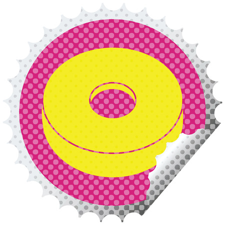 donut graphic vector circular peeling sticker