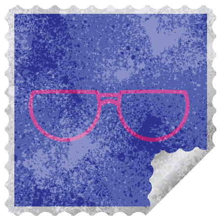 spectacles graphic vector illustration square peeling sticker