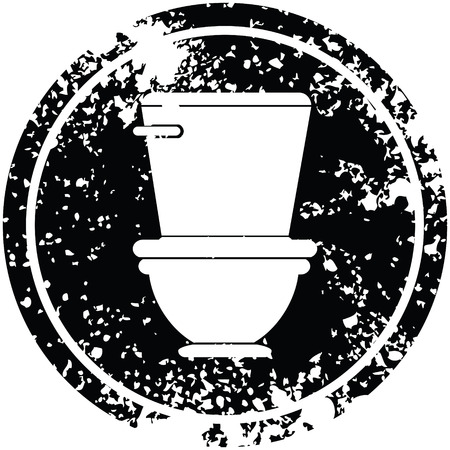 toilet circular distressed symbol vector illustration