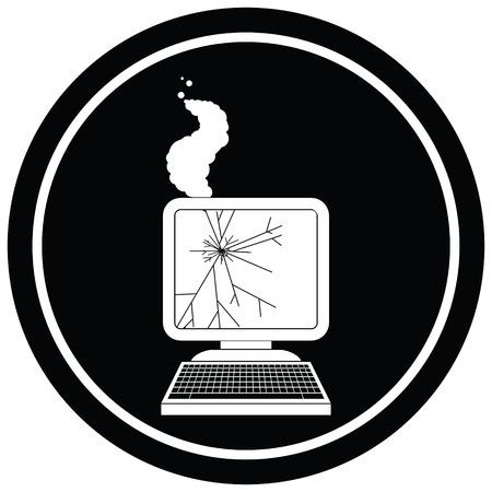 broken computer graphic circular symbol