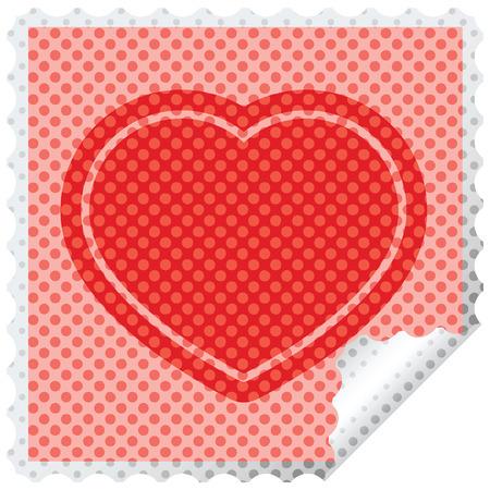 heart symbol graphic square sticker stamp 일러스트