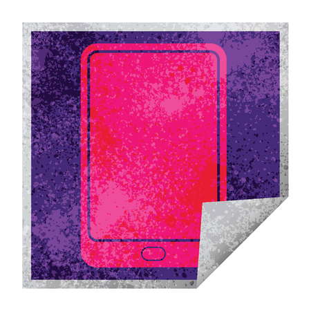 tablet computer vector illustration square peeling sticker