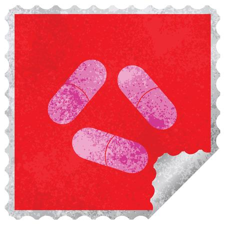 pills vector illustration square peeling sticker Illustration