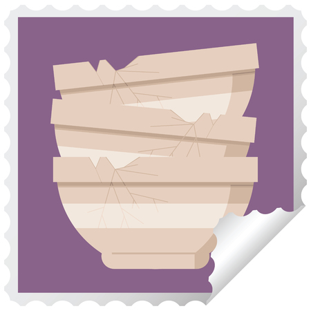 stack of cracked old bowls graphic square sticker stamp