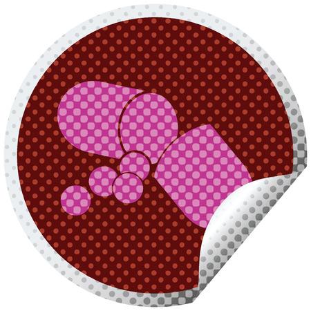 Capsule pill vector illustration circular peeling sticker Illustration