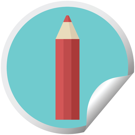 red coloring pencil graphic vector illustration circular sticker
