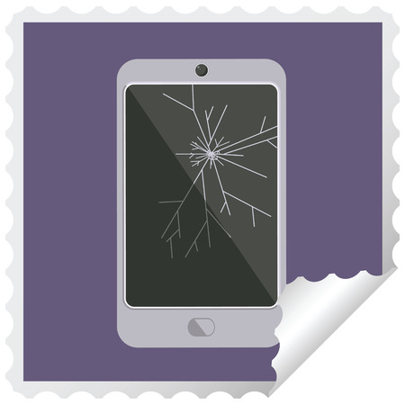 cracked screen cell phone graphic square sticker stamp