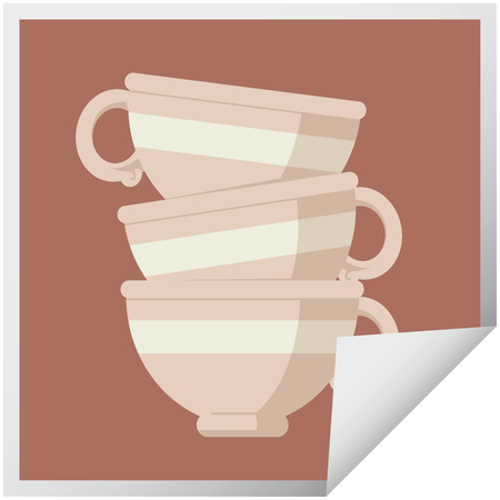 stack of cups graphic vector illustration square sticker