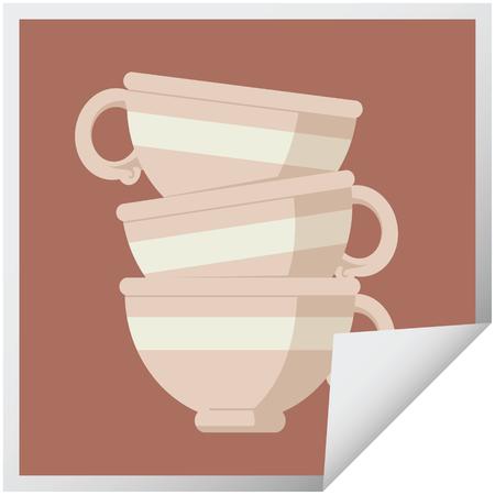 stapel kopjes grafische vectorillustratie vierkante sticker