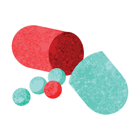 Flat colour illustration of an open capsule pill Çizim