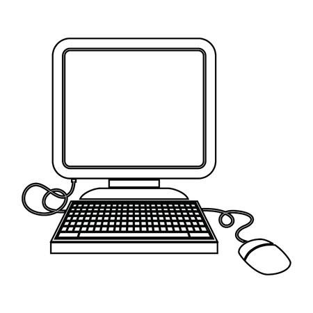 vector icon illustration of a computer with mouse Standard-Bild - 110203527