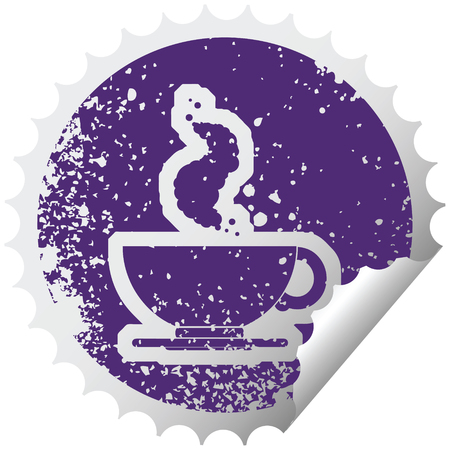 distressed sticker icon illustration of a hot cup of coffee Illustration