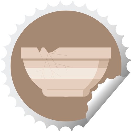 cracked bowl graphic vector illustration round sticker stamp