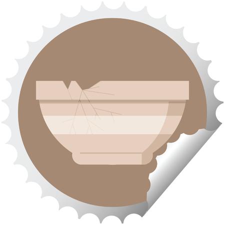 gebarsten kom grafische vectorillustratie ronde sticker stamp