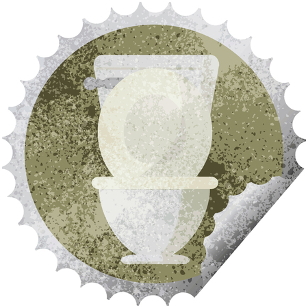 open toilet graphic vector illustration round sticker stamp