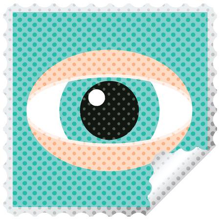 Timbre d'autocollant carré graphique œil fixe