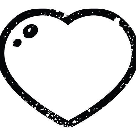 Distressed effect heart symbol graphic vector illustration icon