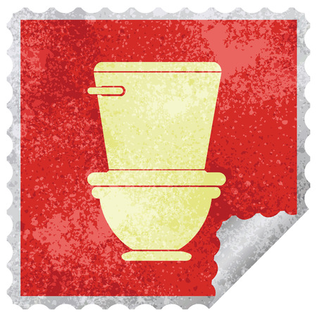 toilet square peeling sticker vector illustration