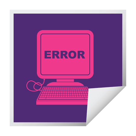 computer error vector illustration square peeling sticker