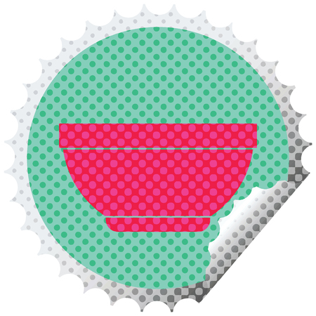Rice bowl circular peeling sticker vector illustration