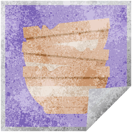 stack of cracked old bowls graphic vector illustration square sticker