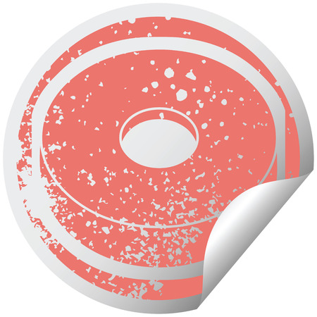 donut graphic distressed sticker illustration icon