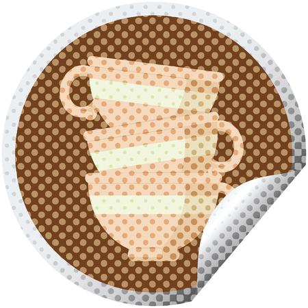 stapel kopjes grafische vectorillustratie ronde sticker