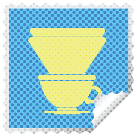 coffee filter cup square peeling sticker