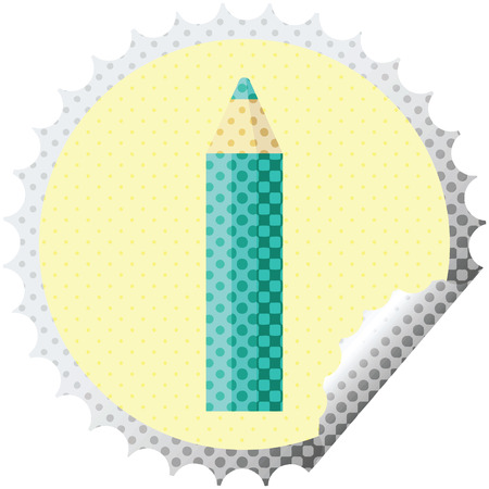 green coloring pencil graphic vector illustration round sticker stamp Illustration