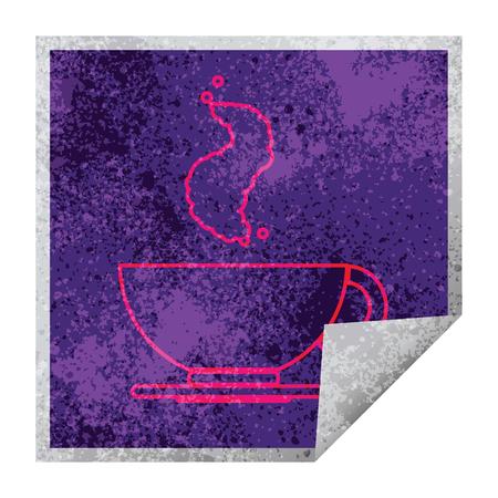 hot cup of coffee square peeling sticker 版權商用圖片 - 110217258