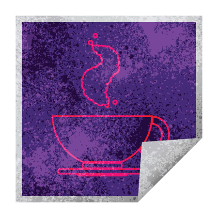 hot cup of coffee square peeling sticker Illustration