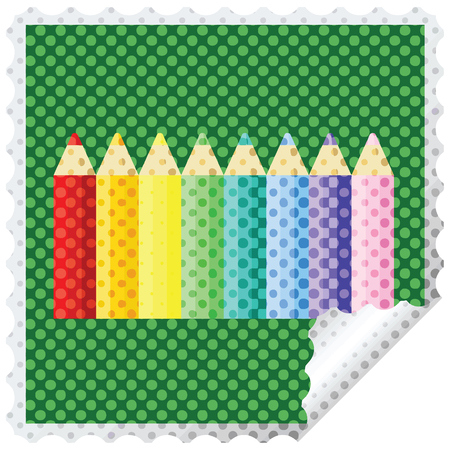 color pencils graphic square sticker stamp