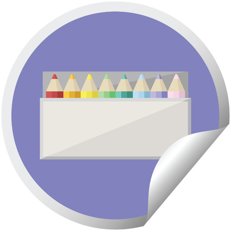 pack of coloring pencils graphic vector illustration circular sticker Stock Illustratie