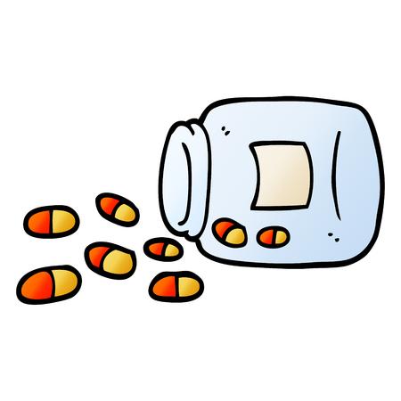vector gradient illustration cartoon jar of pills Ilustracja