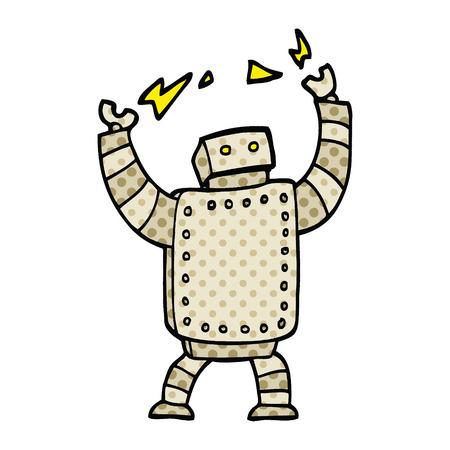 comic book style cartoon giant robot Ilustração
