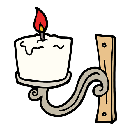 hand drawn doodle style cartoon old candle holder