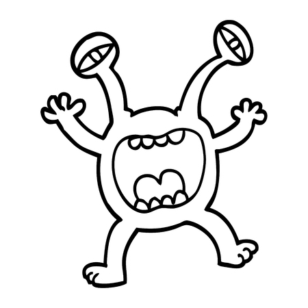 black and white cartoon monster